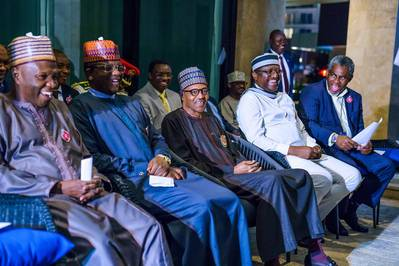 President Muhammadu Buhari meets with Leaders of Nigerian Community in Russia during the Russia-Africa Economic Summit in Sochi, Russia. [Twitter/@NigeriaGov]